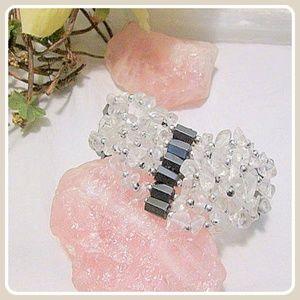 "Jewelry - ""Grounding"" Magnetic Hematite & Clear Quartz Wrap"